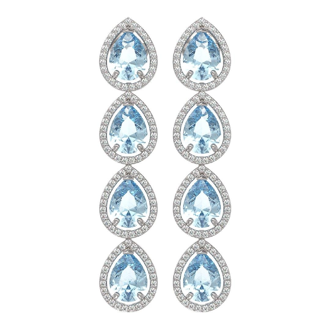 10.4 CTW Sky Topaz & Diamond Halo Earrings 10K White