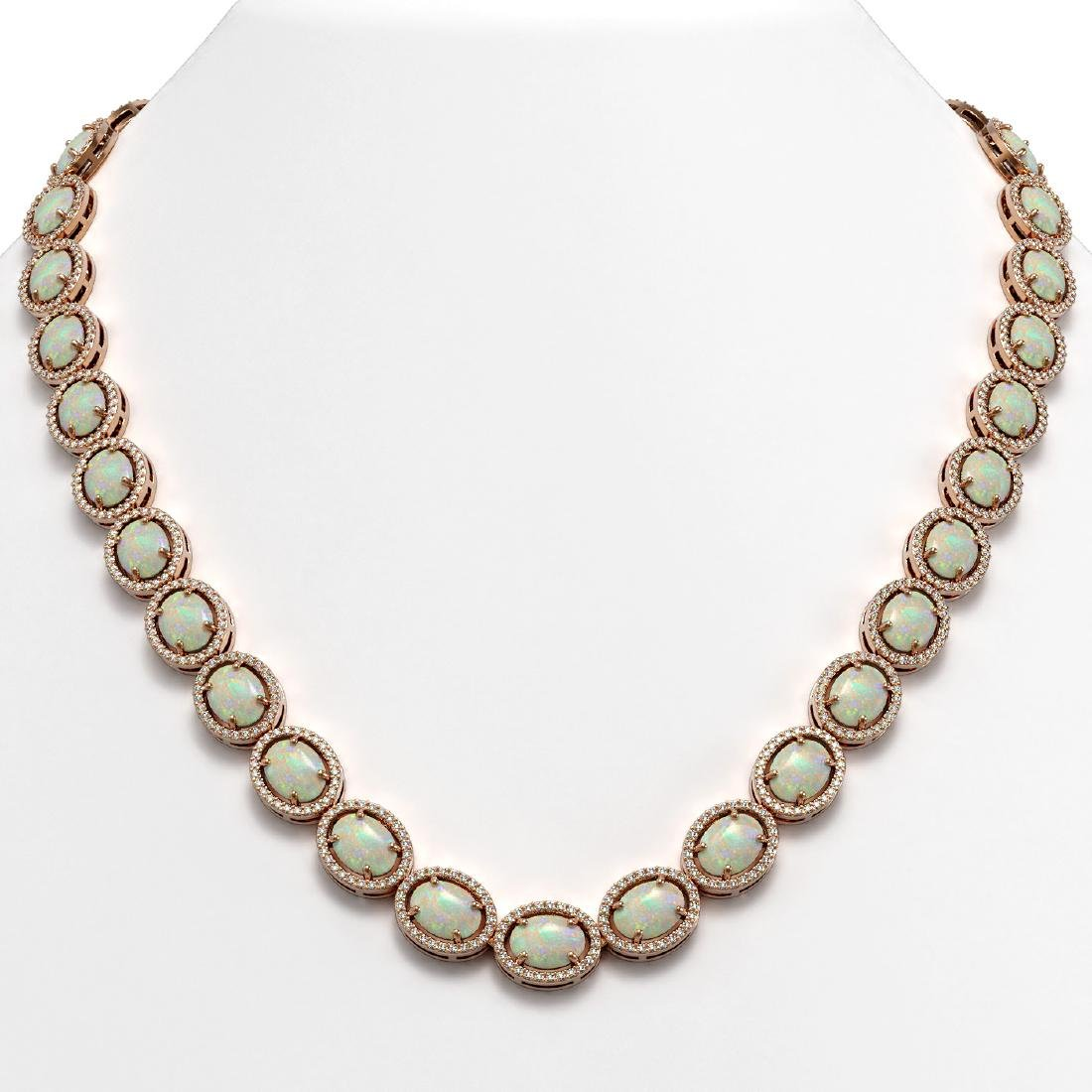 42.29 CTW Opal & Diamond Halo Necklace 10K Rose Gold