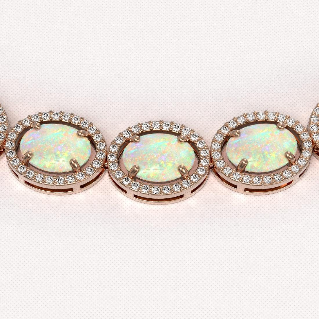 42.29 CTW Opal & Diamond Halo Necklace 10K Rose Gold - 3