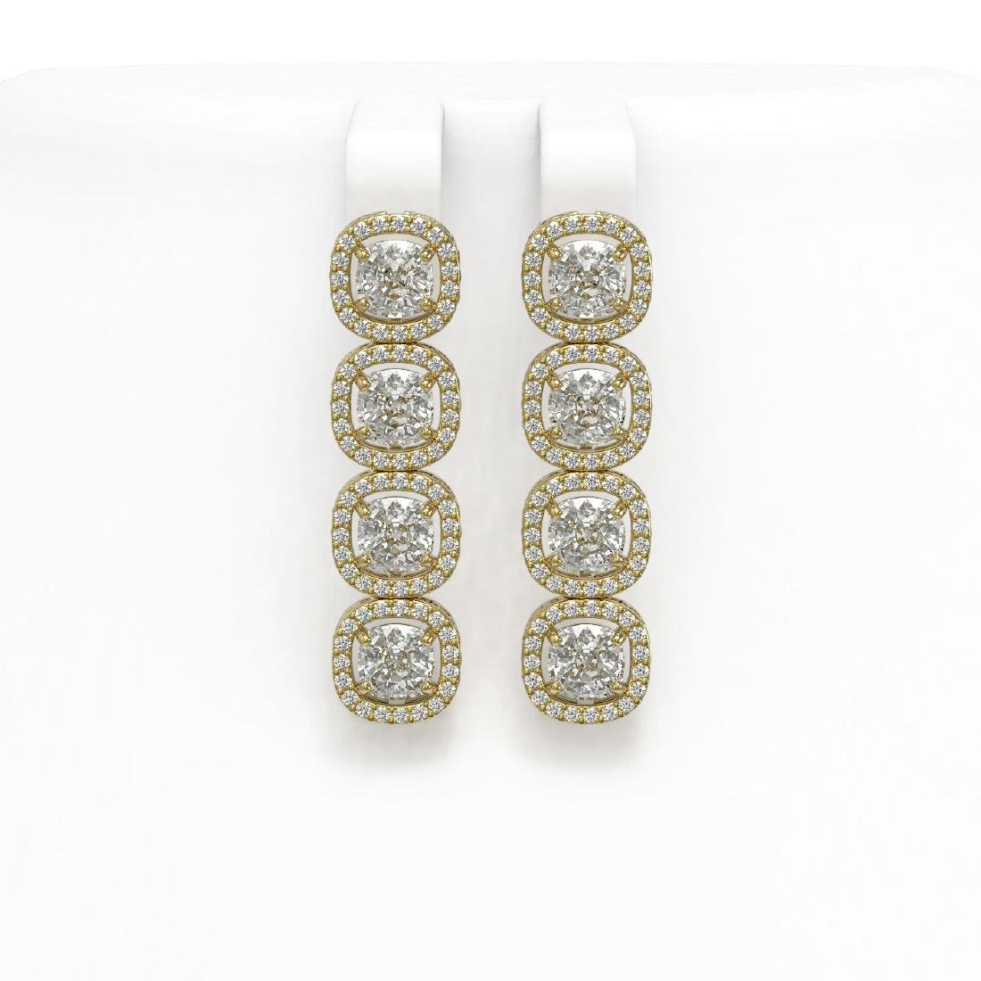 6.01 CTW Cushion Diamond Designer Earrings 18K Yellow