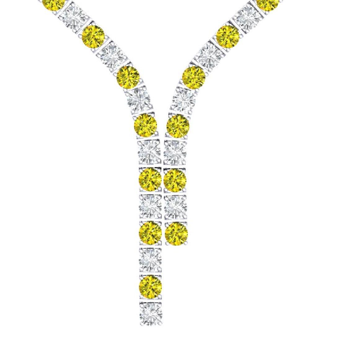 40 CTW SI/I Fancy Yellow & White Diamond Necklace 18K