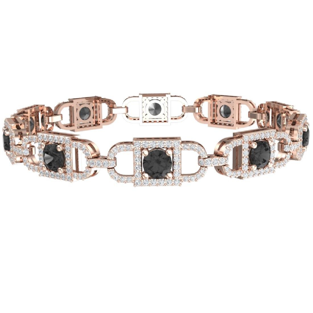 8 CTW Black And White Diamond Bracelet 18K Rose Gold - 2