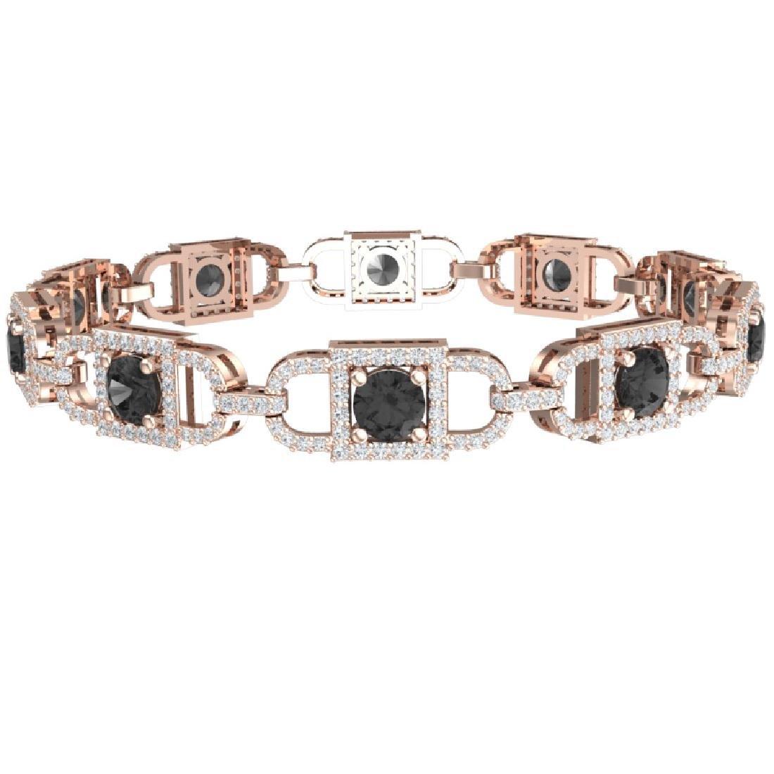 8 CTW Black And White Diamond Bracelet 18K Rose Gold - 2