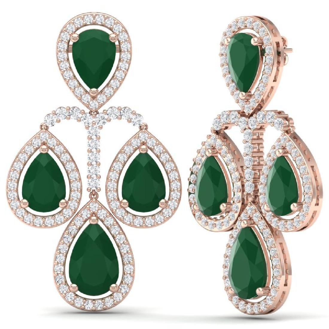 29.23 CTW Royalty Emerald & VS Diamond Earrings 18K - 3