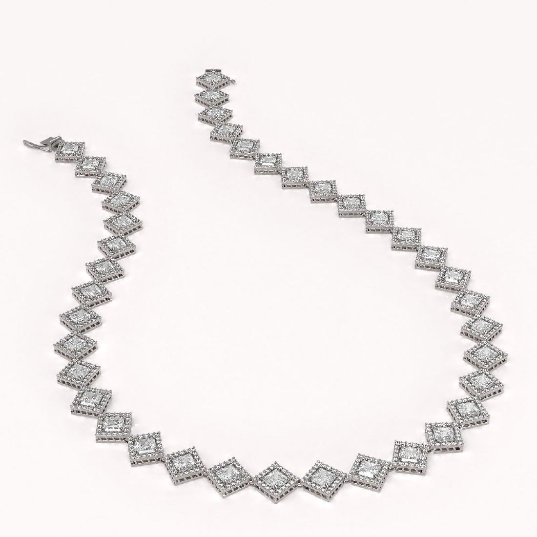 31.92 CTW Princess Cut Diamond Designer Necklace 18K - 2
