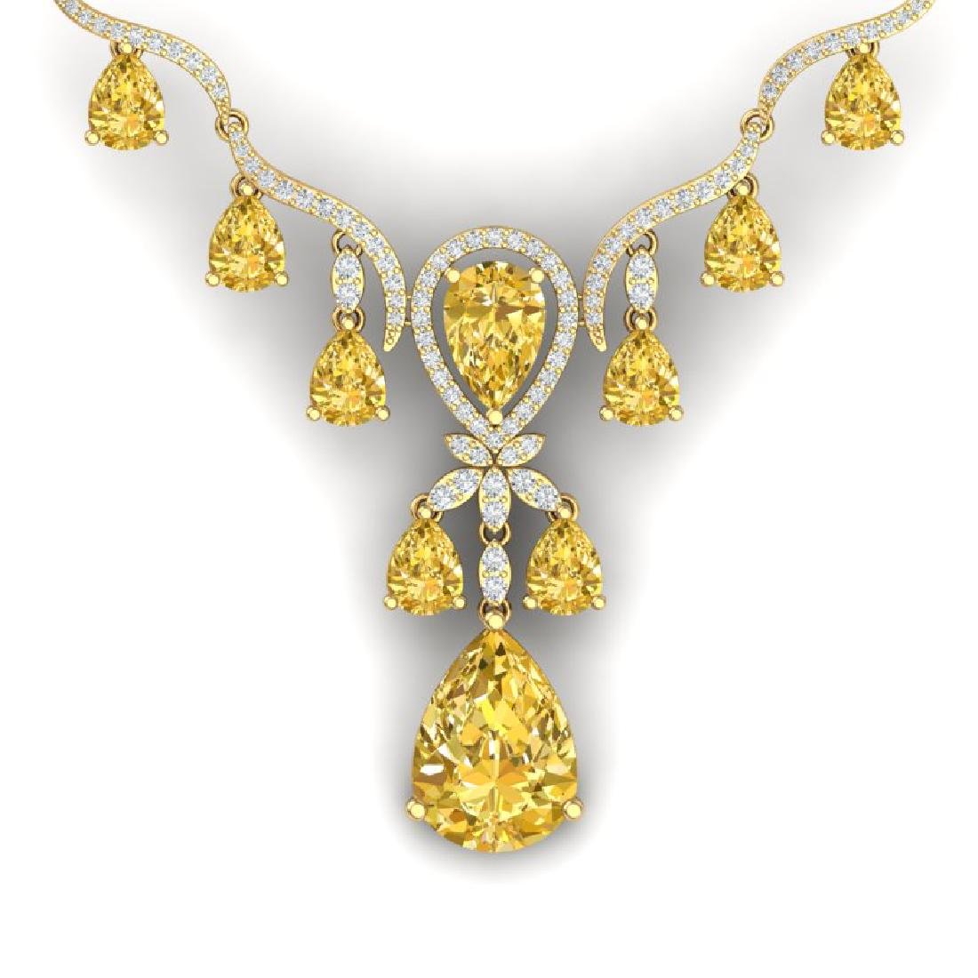 34.70 CTW Royalty Canary Citrine & VS Diamond Necklace
