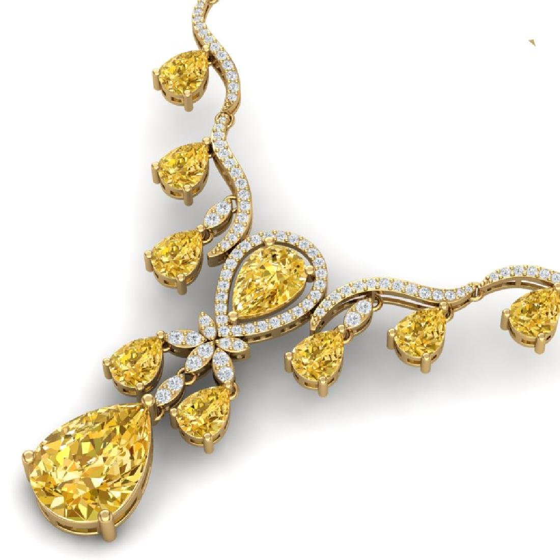 34.70 CTW Royalty Canary Citrine & VS Diamond Necklace - 2