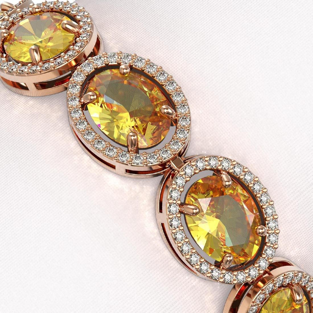 25.24 CTW Fancy Citrine & Diamond Halo Bracelet 10K - 3