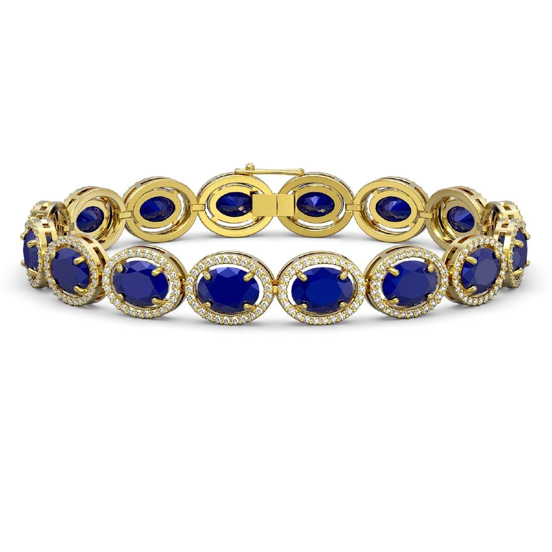 31.79 CTW Sapphire & Diamond Halo Bracelet 10K Yellow
