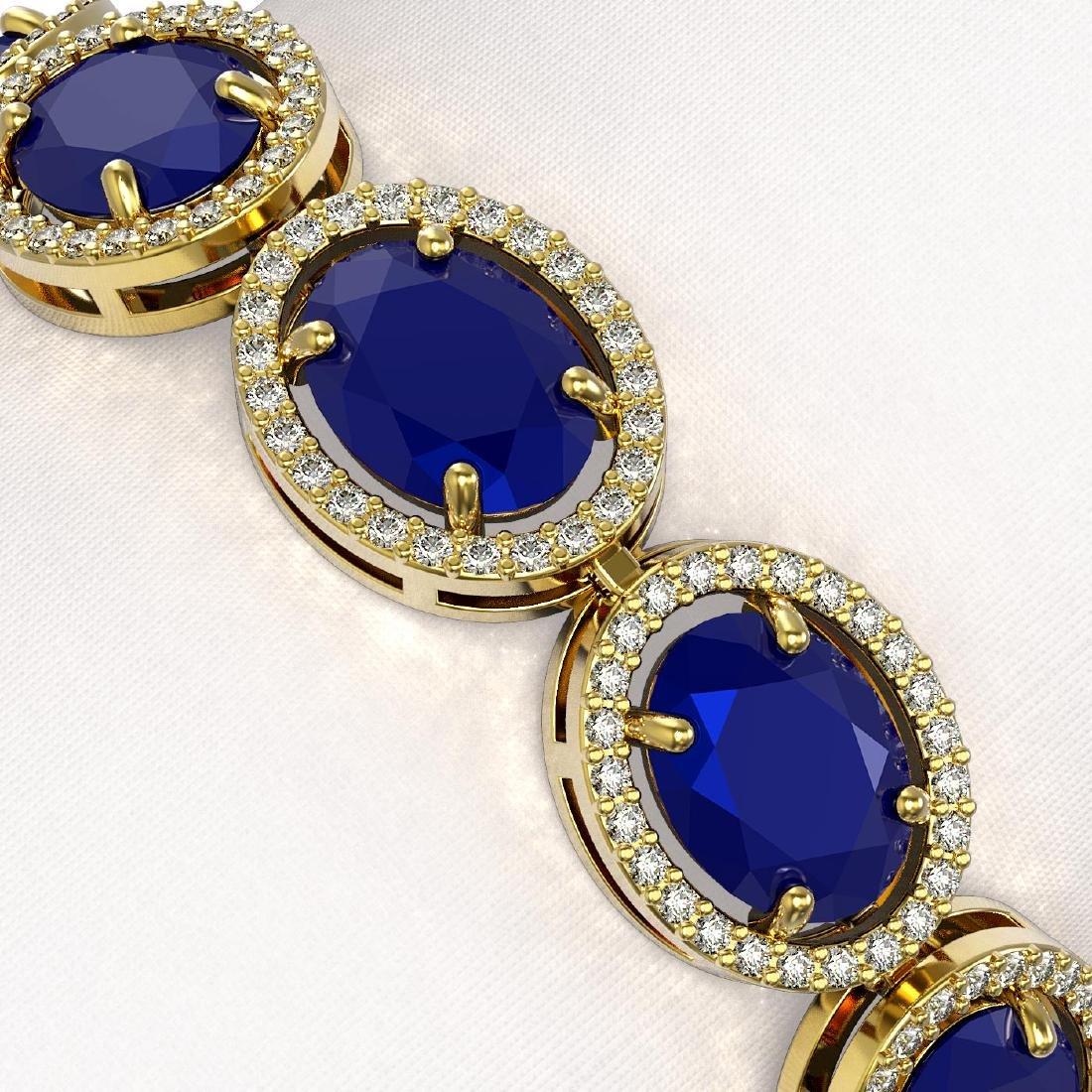 31.79 CTW Sapphire & Diamond Halo Bracelet 10K Yellow - 3