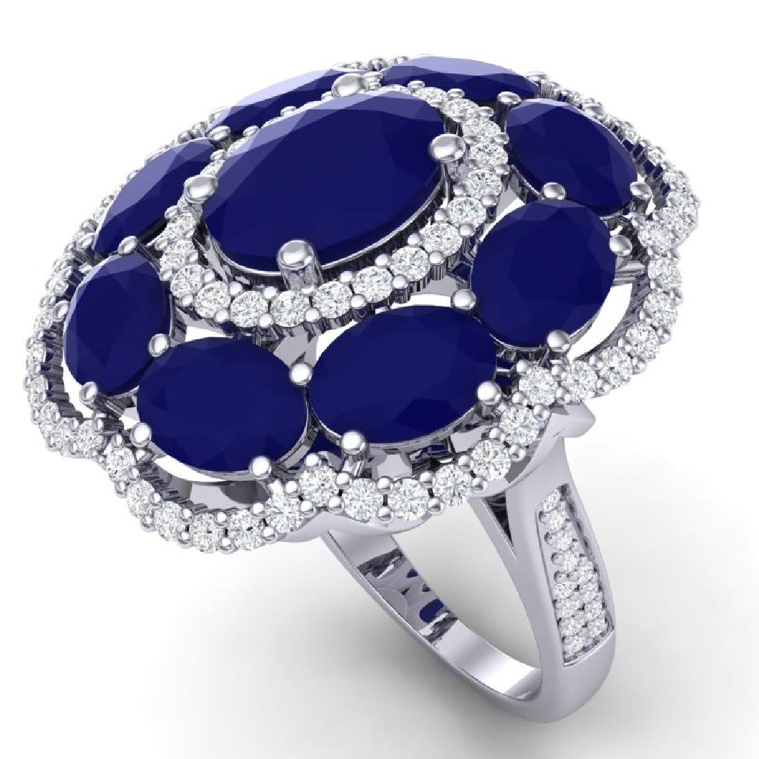 14.4 CTW Royalty Designer Sapphire & VS Diamond Ring