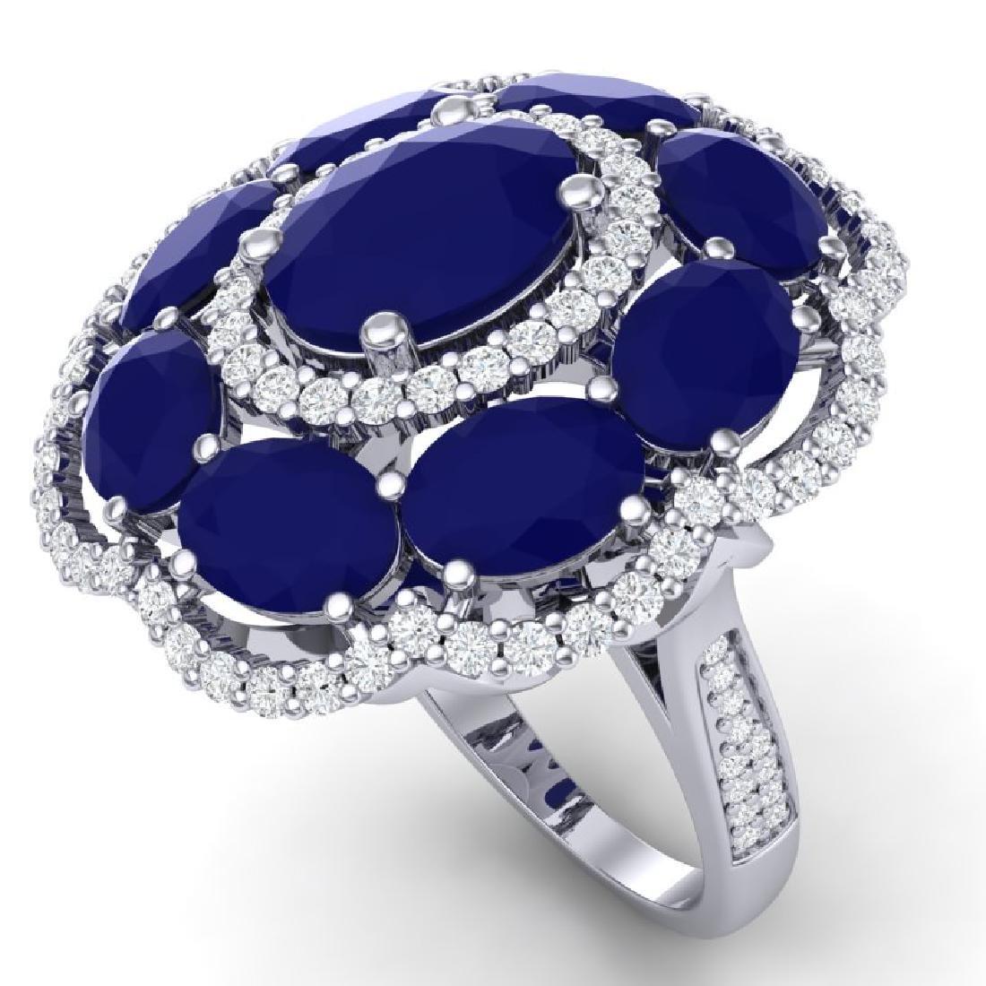 14.4 CTW Royalty Designer Sapphire & VS Diamond Ring