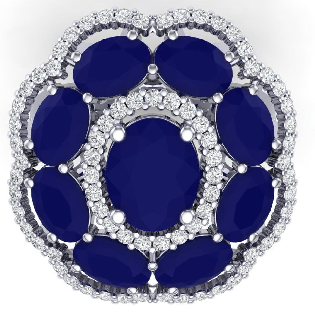 14.4 CTW Royalty Designer Sapphire & VS Diamond Ring - 2