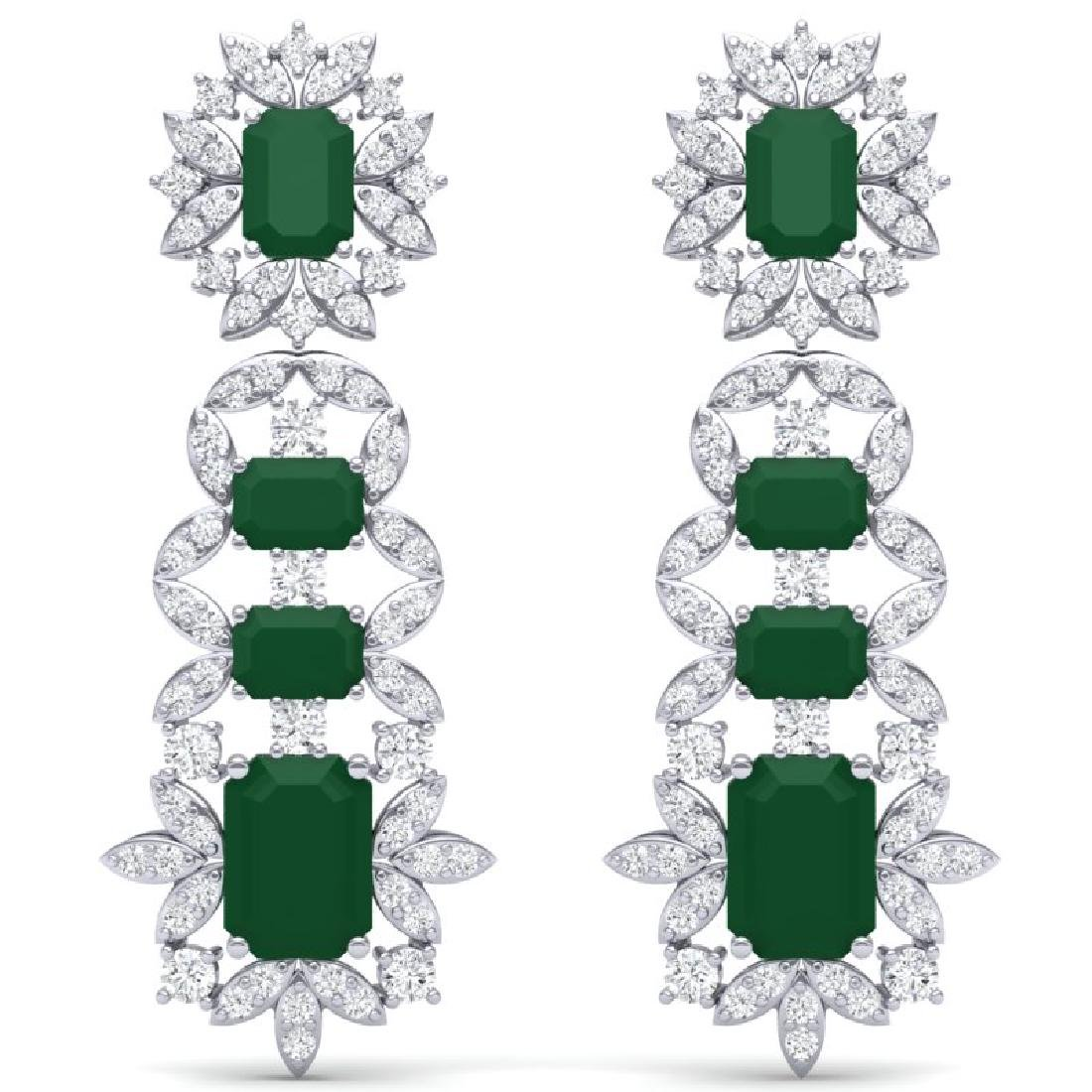 30.25 CTW Royalty Emerald & VS Diamond Earrings 18K