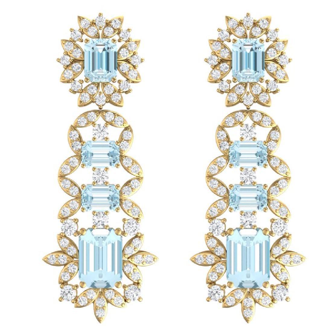 33.36 CTW Royalty Sky Topaz & VS Diamond Earrings 18K