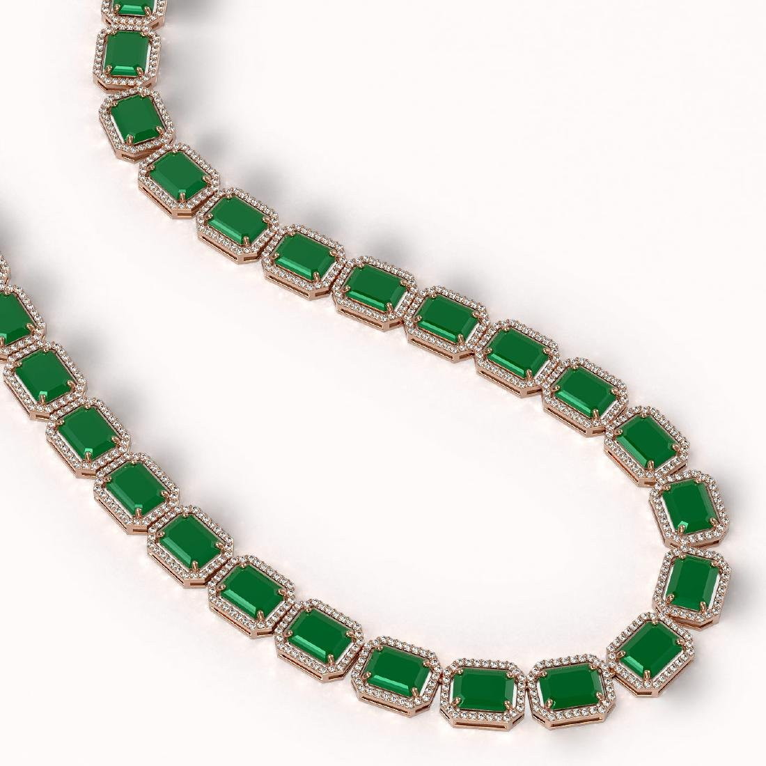 84.94 CTW Emerald & Diamond Halo Necklace 10K Rose Gold