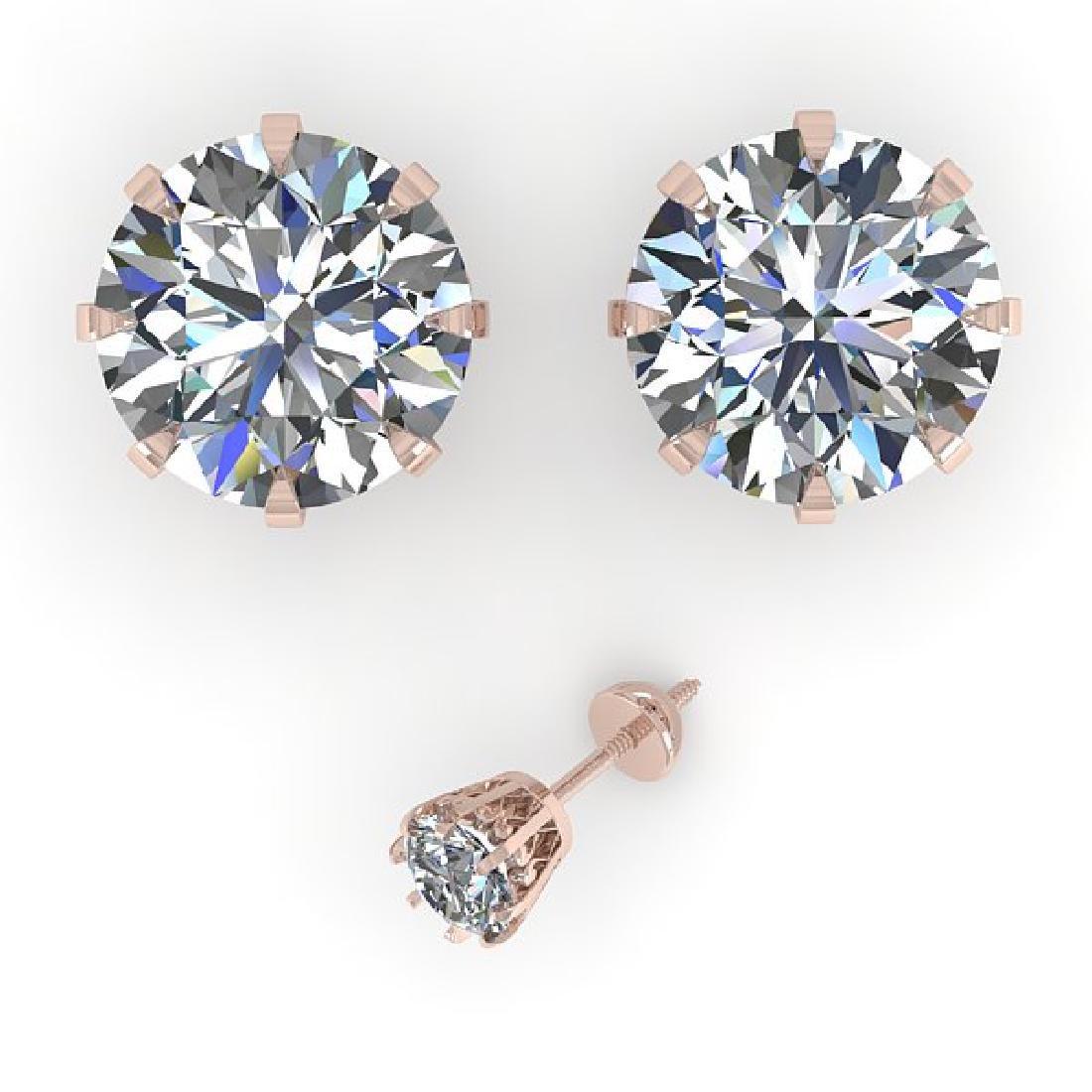 4.0 CTW VS/SI Diamond Stud Solitaire Earrings 14K Rose