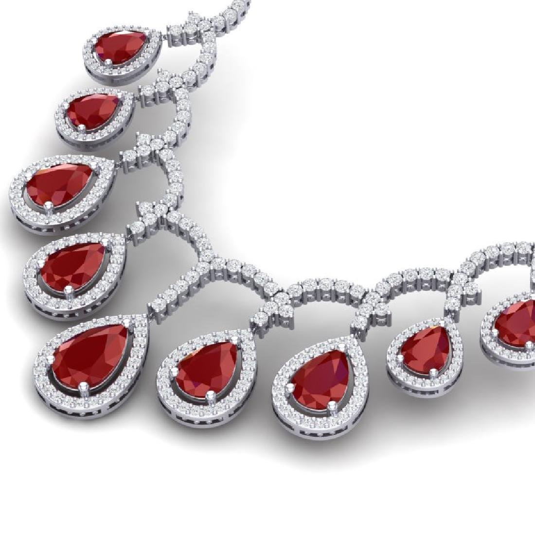 31.5 CTW Royalty Designer Ruby & VS Diamond Necklace