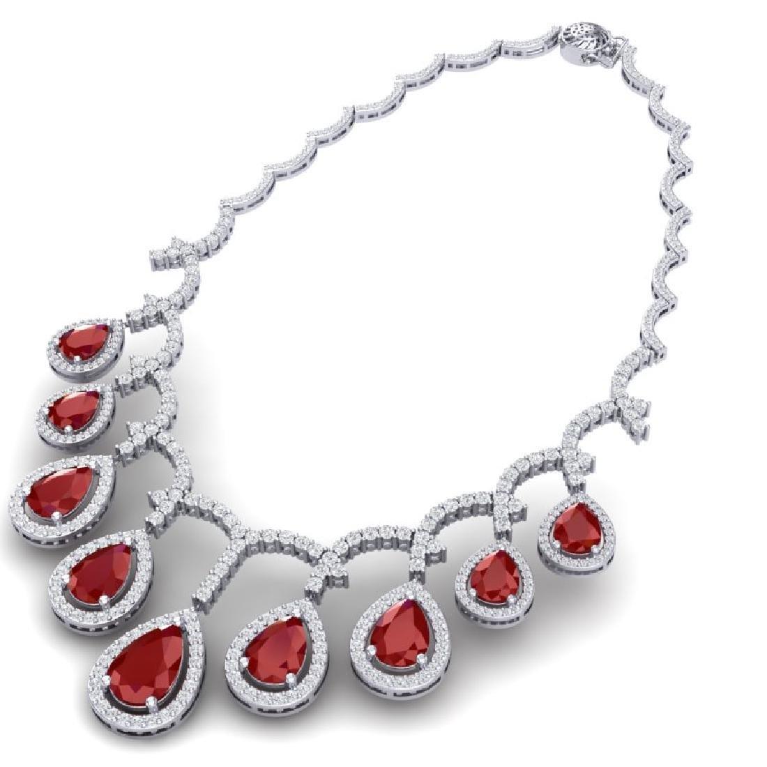 31.5 CTW Royalty Designer Ruby & VS Diamond Necklace - 2
