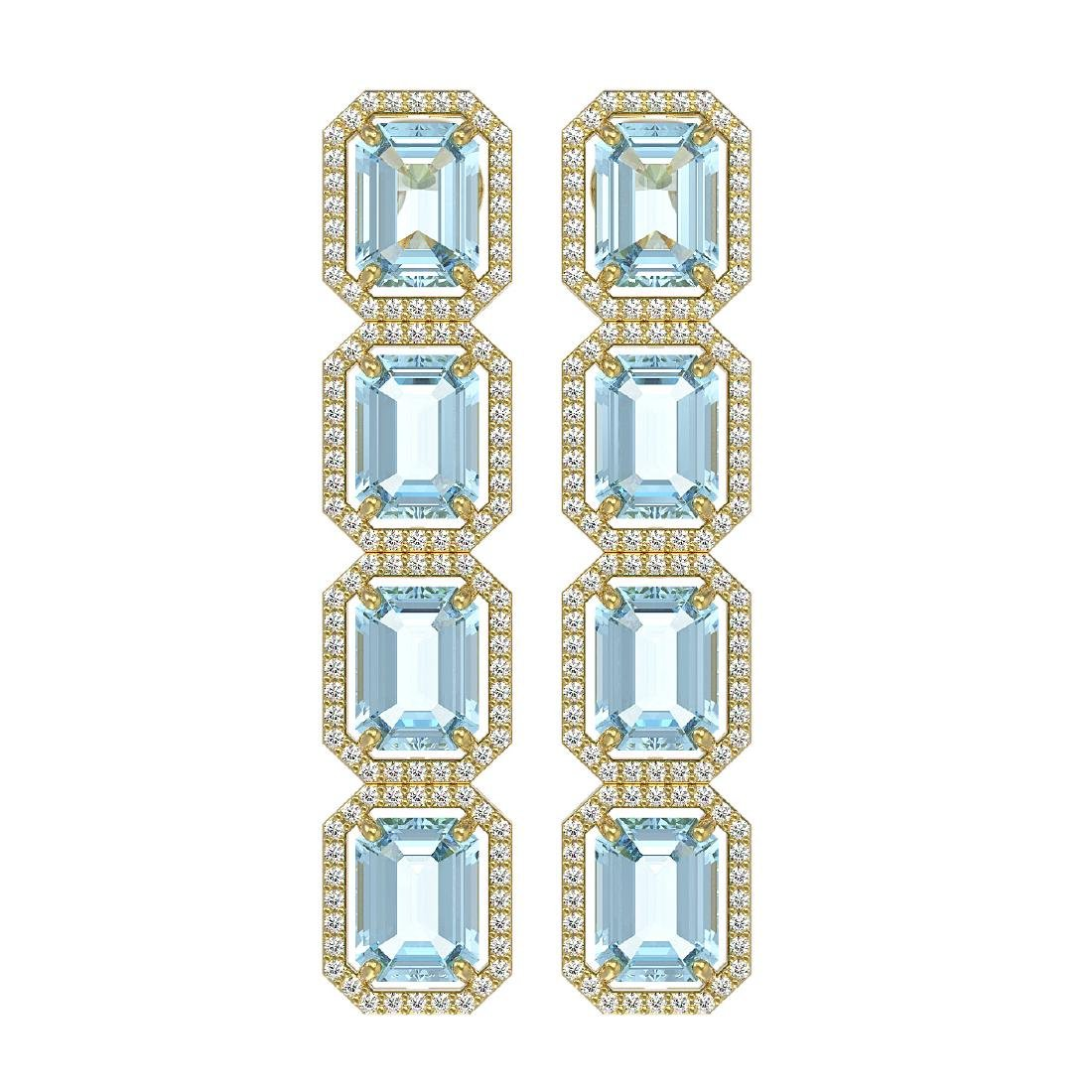 19.49 CTW Aquamarine & Diamond Halo Earrings 10K Yellow