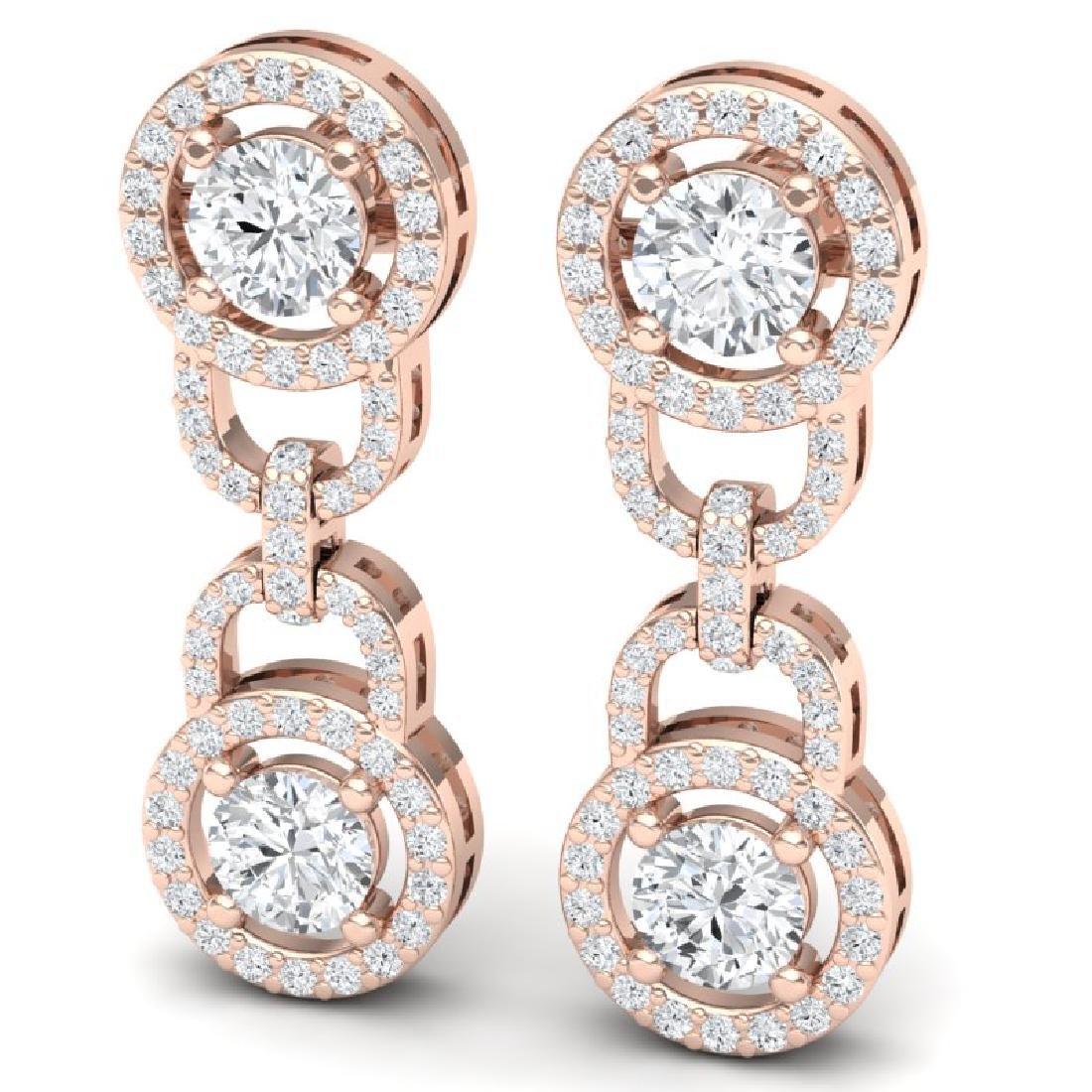 4 CTW Certified SI/I Diamond Halo Earrings 18K Rose