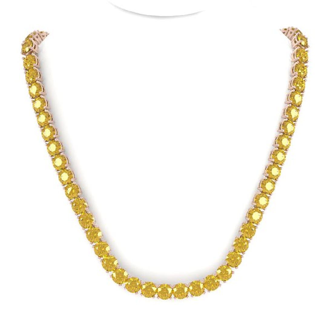 30 CTW Certified Fancy Yellow SI Diamond Necklace 18K - 3