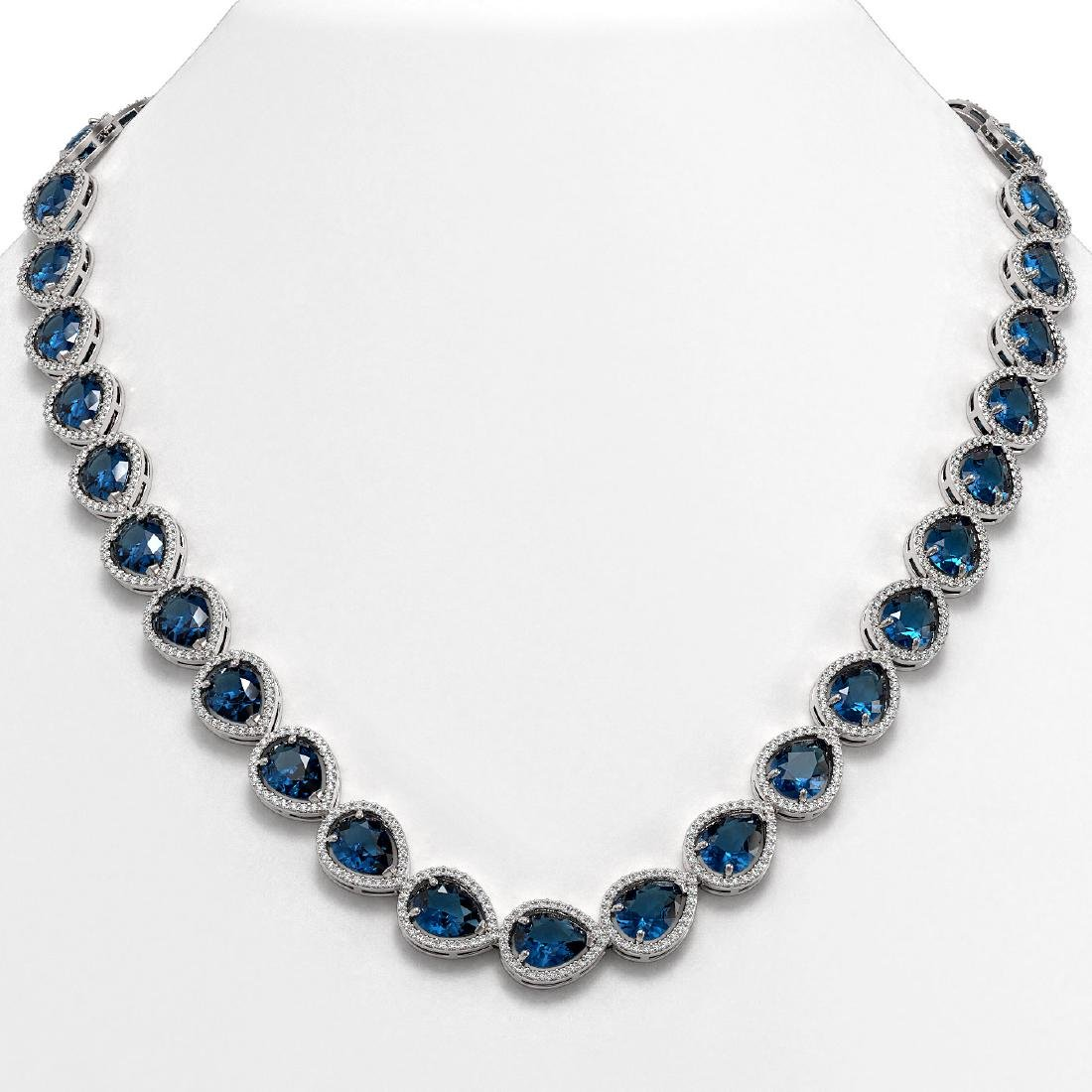 44.8 CTW London Topaz & Diamond Halo Necklace 10K White