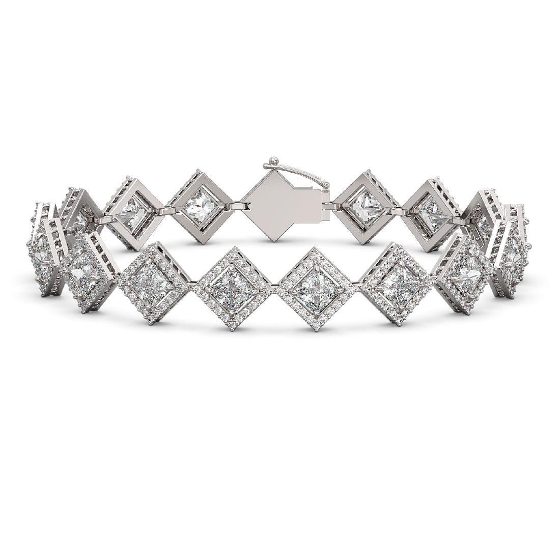 13.5 CTW Princess Cut Diamond Designer Bracelet 18K