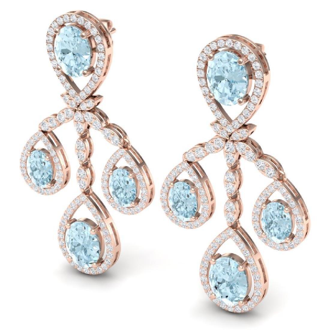 25.94 CTW Royalty Sky Topaz & VS Diamond Earrings 18K - 2