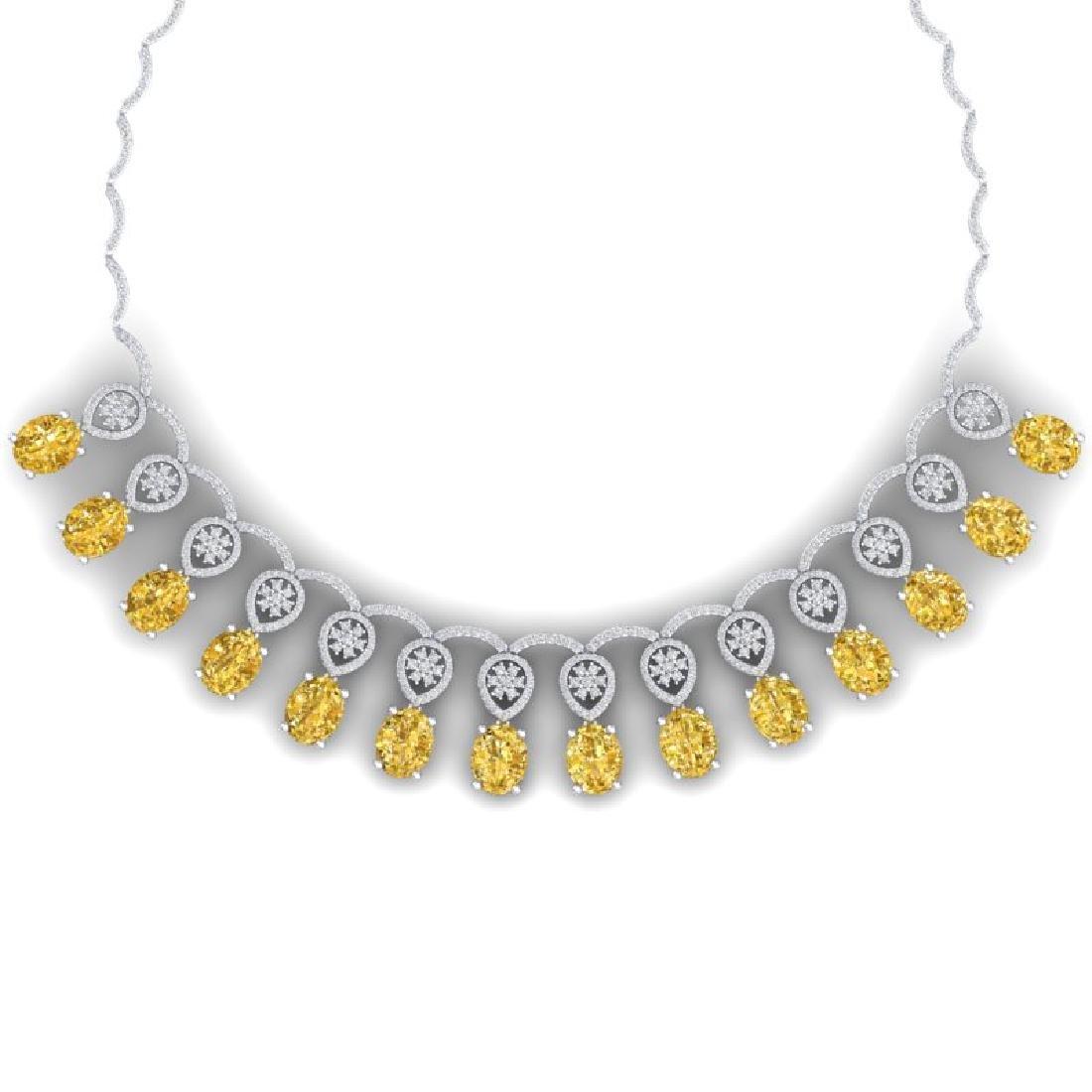 51.57 CTW Royalty Canary Citrine & VS Diamond Necklace