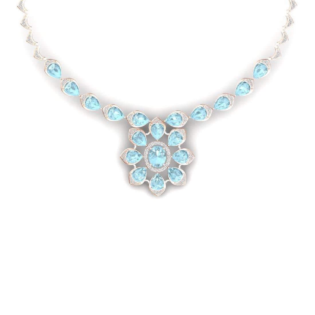 29.34 CTW Royalty Sky Topaz & VS Diamond Necklace 18K