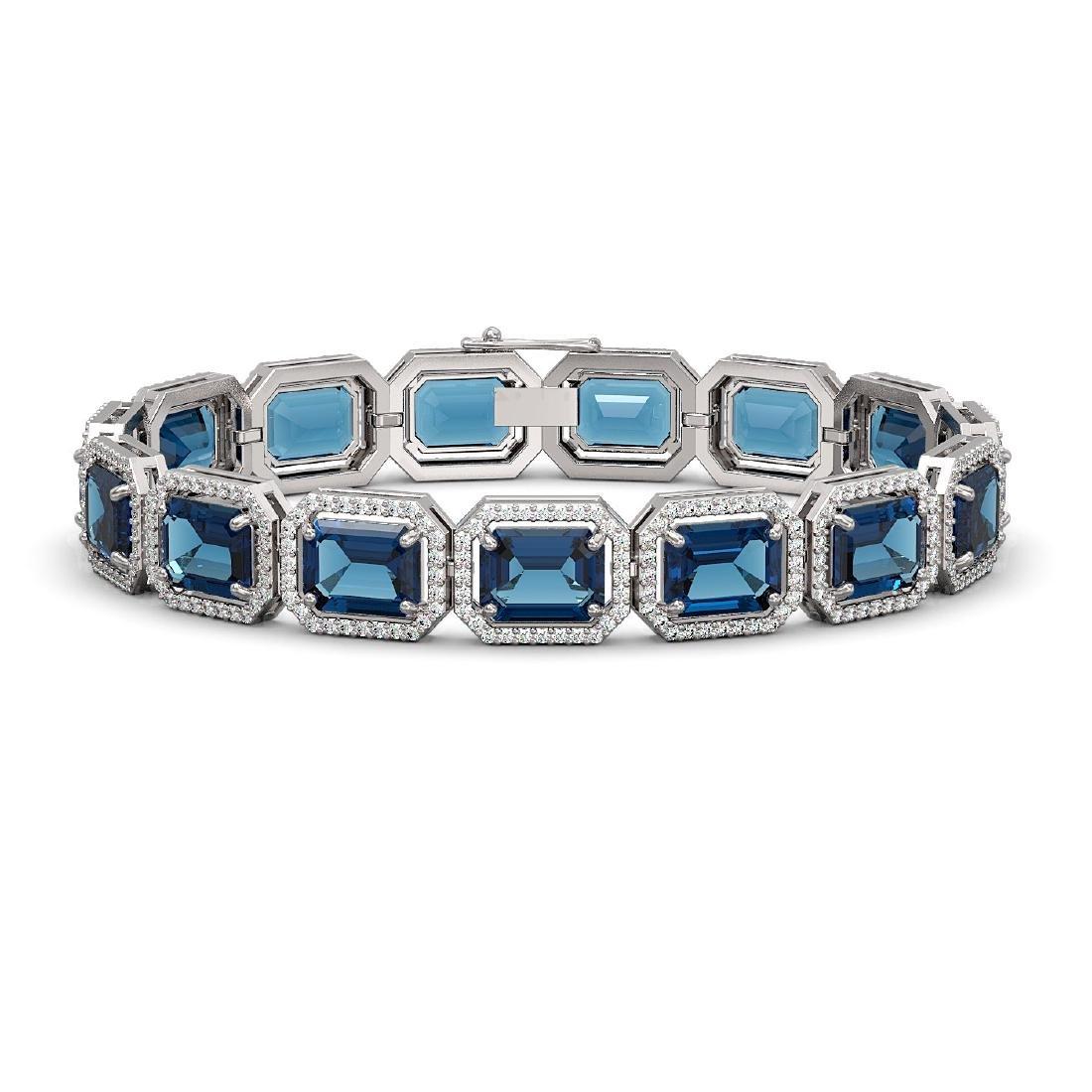 35.61 CTW London Topaz & Diamond Halo Bracelet 10K