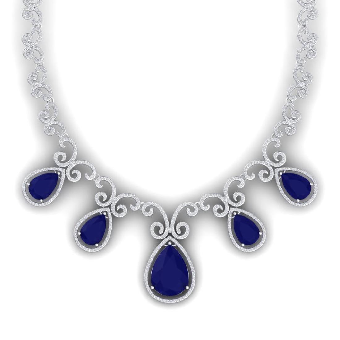 38.42 CTW Royalty Sapphire & VS Diamond Necklace 18K