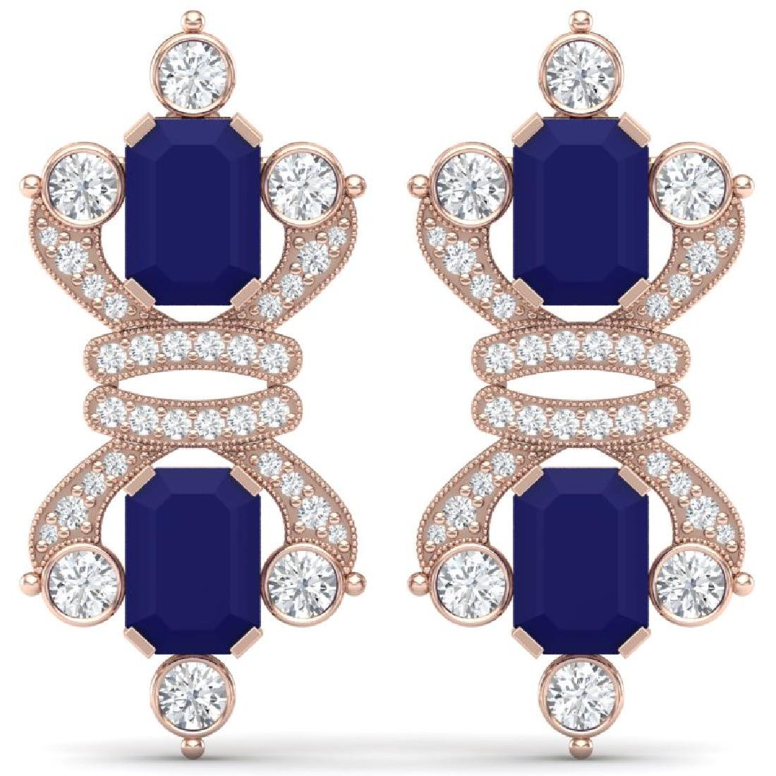 27.36 CTW Royalty Sapphire & VS Diamond Earrings 18K