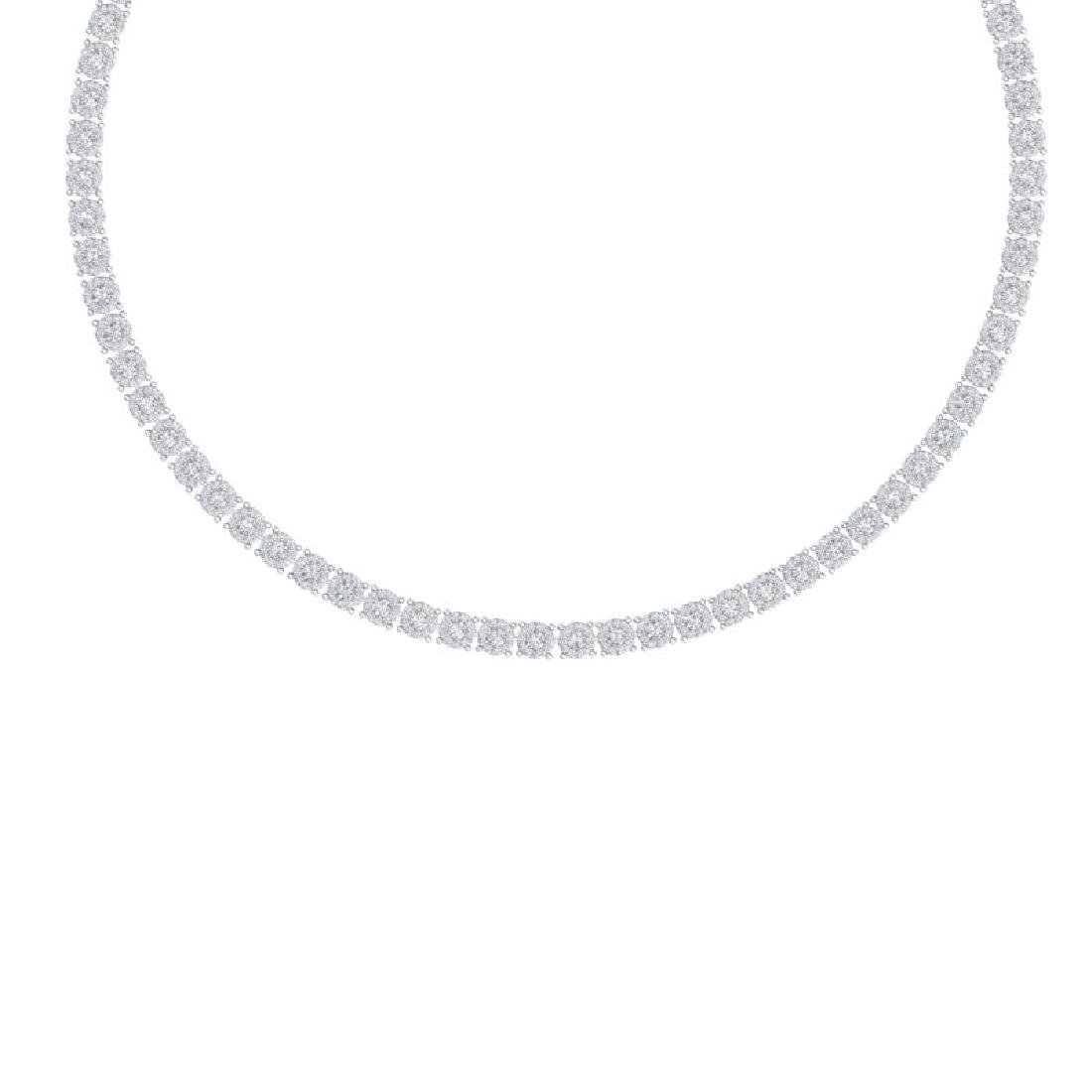 12 CTW Certified SI/I Diamond Halo Necklace 18K White