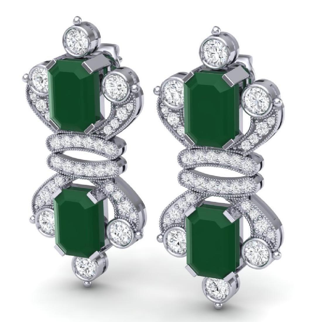 27.36 CTW Royalty Emerald & VS Diamond Earrings 18K - 2