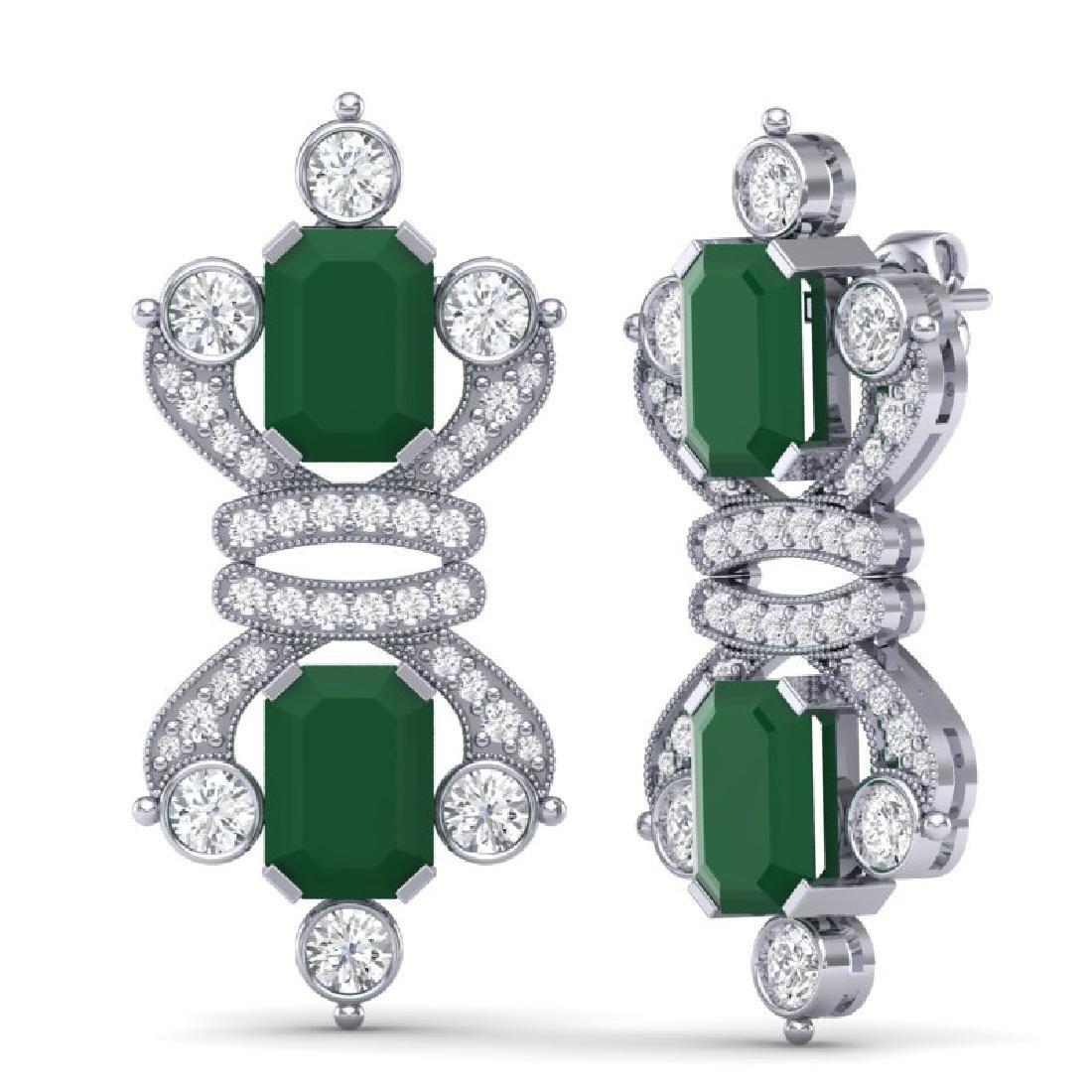 27.36 CTW Royalty Emerald & VS Diamond Earrings 18K - 3