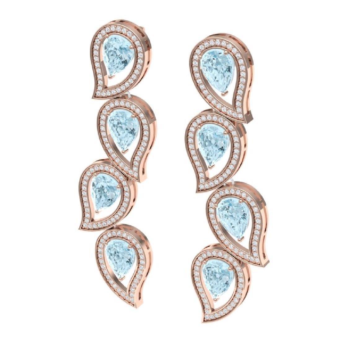 15.69 CTW Royalty Sky Topaz & VS Diamond Earrings 18K - 2