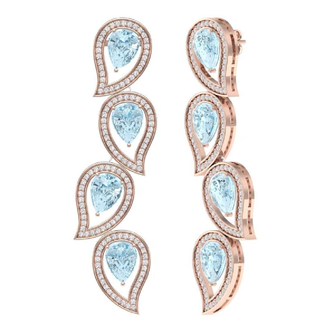 15.69 CTW Royalty Sky Topaz & VS Diamond Earrings 18K - 3