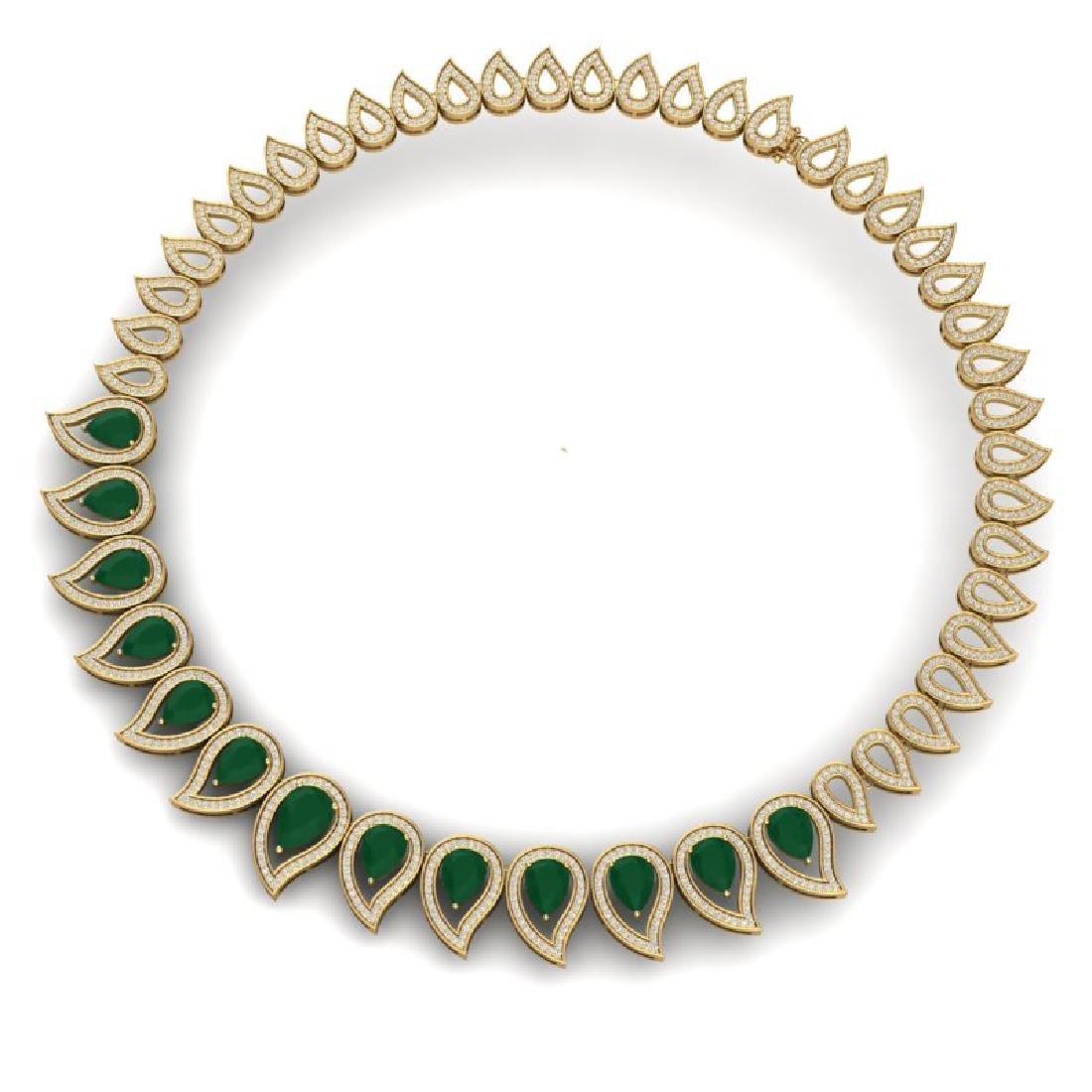 33.4 CTW Royalty Emerald & VS Diamond Necklace 18K