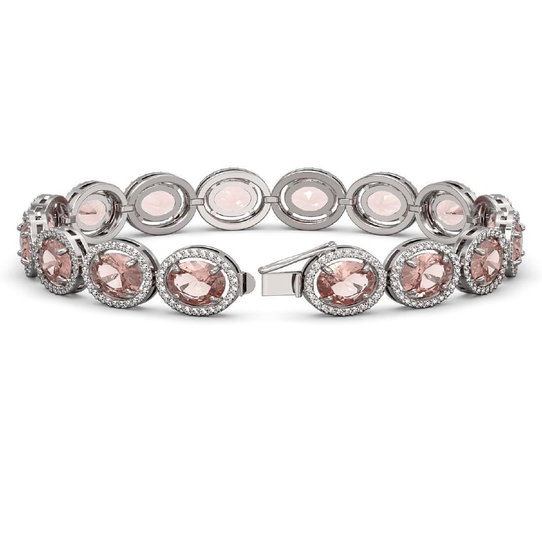 22.8 CTW Morganite & Diamond Halo Bracelet 10K White - 2
