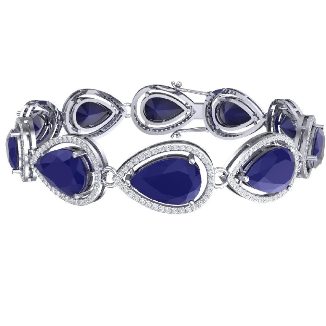 28.31 CTW Royalty Sapphire & VS Diamond Bracelet 18K - 2