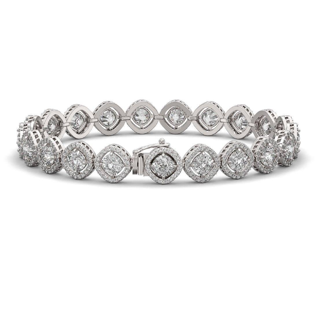 15.58 CTW Cushion Cut Diamond Designer Bracelet 18K - 2