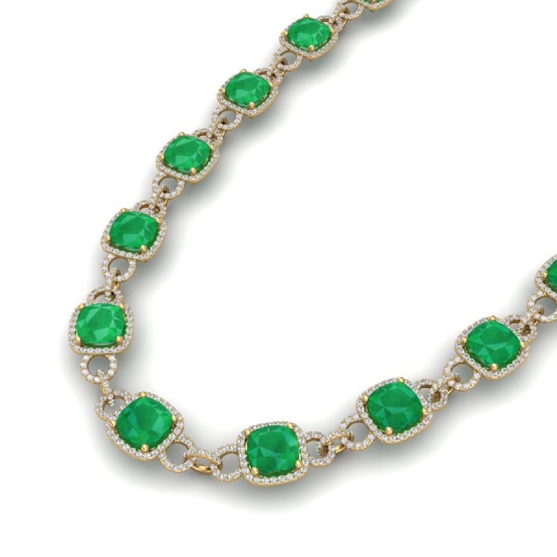 56 CTW Emerald & VS/SI Diamond Necklace 14K Yellow Gold