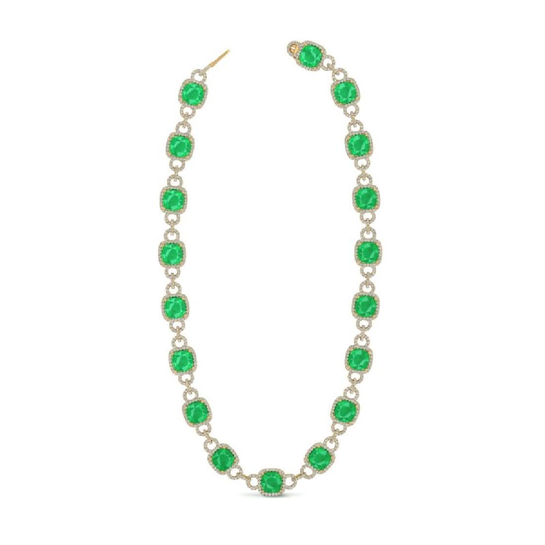 56 CTW Emerald & VS/SI Diamond Necklace 14K Yellow Gold - 2