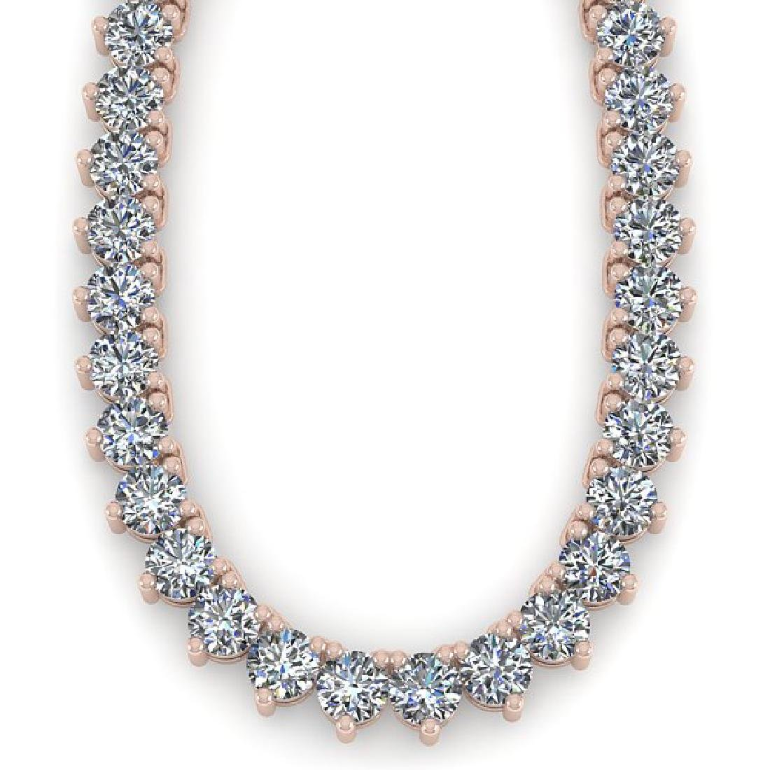 68 CTW Solitaire Certified SI Diamond Necklace 14K Rose - 2