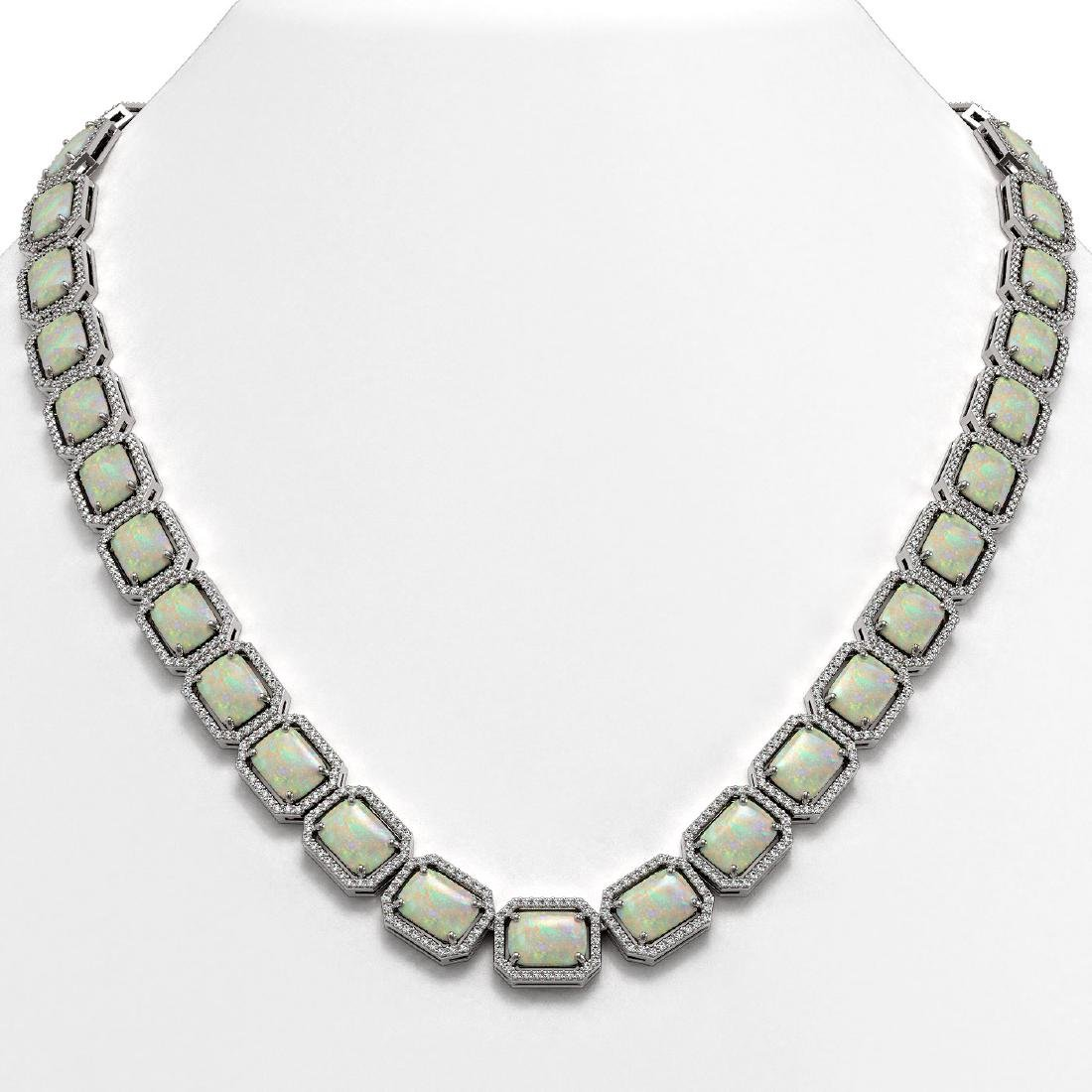 53.59 CTW Opal & Diamond Halo Necklace 10K White Gold