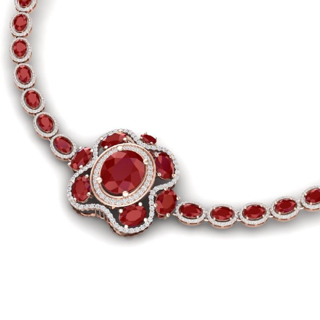 47.43 CTW Royalty Ruby & VS Diamond Necklace 18K Rose