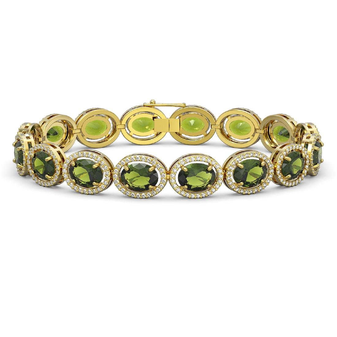 23.6 CTW Tourmaline & Diamond Halo Bracelet 10K Yellow