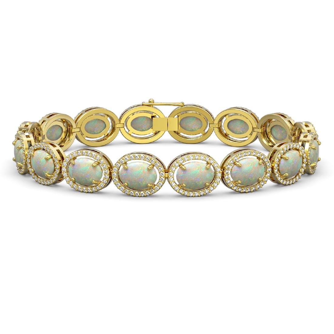 18.33 CTW Opal & Diamond Halo Bracelet 10K Yellow Gold